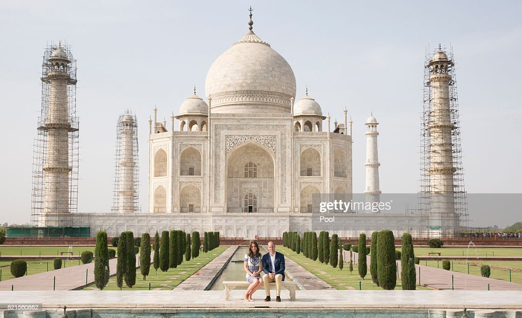 Prince William, Duke of Cambridge and Catherine, Duchess of Cambridge sit in front of the Taj Mahal during day seven of the royal tour of India and Bhutan on April 16, 2016 in Agra, India. This is the last engagement of the Royal couple after a week long visit to India and Bhutan that has taken them in cities such as Mumbai, Delhi, Kaziranga, Thimphu and Agra.