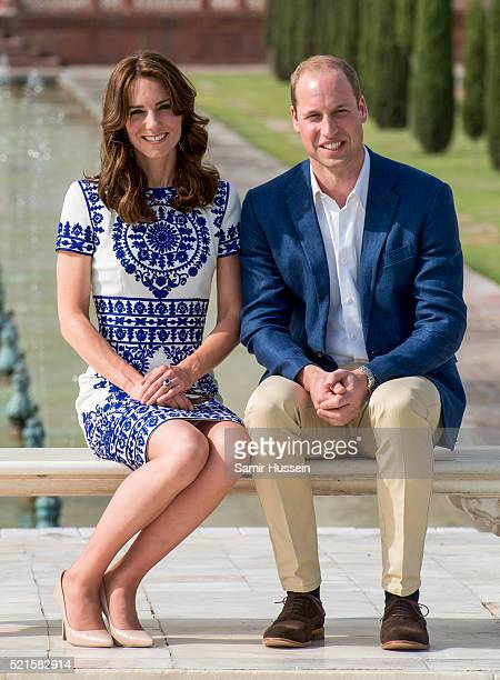 Prince William Duke of Cambridge and Catherine Duchess of Cambridge pose in front of the Taj Mahal on April 16 2016 in Agra India
