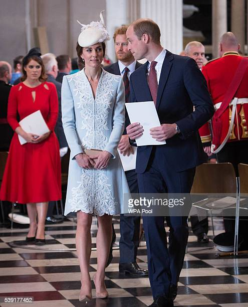 Prince William Duke of Cambridge and Catherine Duchess of Cambridge leave after a service of thanksgiving for Queen Elizabeth II's 90th birthday at...