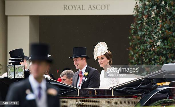 Prince William, Duke of Cambridge and Catherine, Duchess of Cambridge arrive by carriage for day 2 of Royal Ascot at Ascot Racecourse on June 8, 2016...