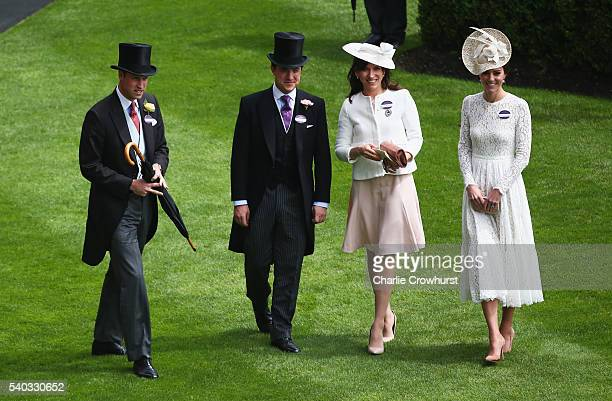 Prince William Duke of Cambridge and Catherine Duchess of Cambridge attend day 2 of Royal Ascot at Ascot Racecourse on June 15 2016 in Ascot England