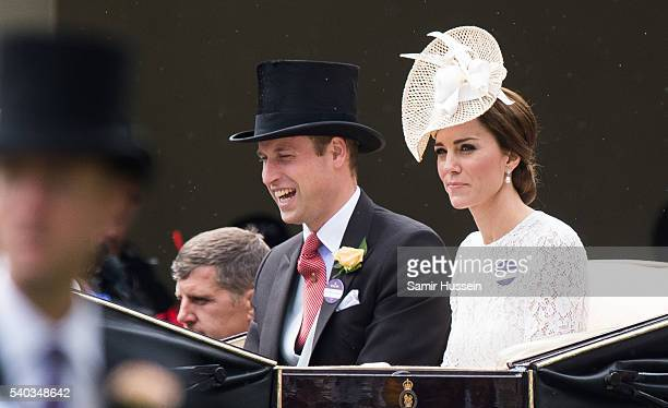Prince William, Duke of Cambridge and Catherine, Duchess of Cambridge arrive by carriage on day 2 of Royal Ascot at Ascot Racecourse on June 8, 2016...