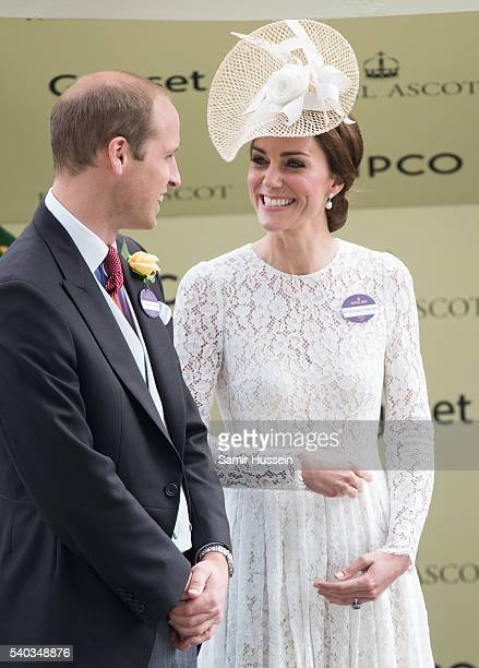 Prince William, Duke of Cambridge and Catherine, Duchess of Cambridge attend day 2 of Royal Ascot at Ascot Racecourse on June 8, 2016 in Ascot,...