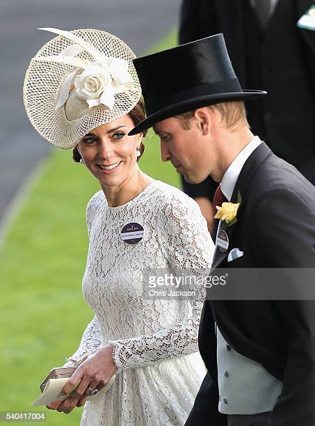 Prince William Duke of Cambridge and Catherine Duchess of Cambridge attend the second day of Royal Ascot at Ascot Racecourse on June 15 2016 in Ascot...