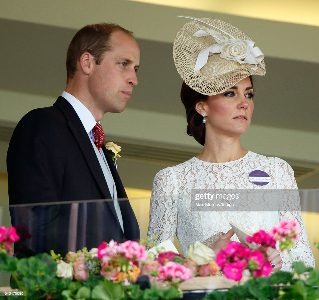 Prince William, Duke of Cambridge and Catherine, Duchess of Cambridge watch the racing as they attend day 2 of Royal Ascot at Ascot Racecourse on June 15, 2016 in Ascot, England.