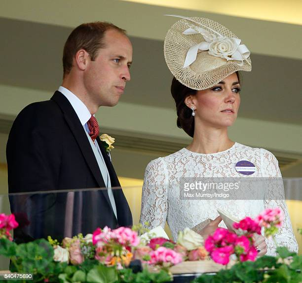 Prince William, Duke of Cambridge and Catherine, Duchess of Cambridge watch the racing as they attend day 2 of Royal Ascot at Ascot Racecourse on...