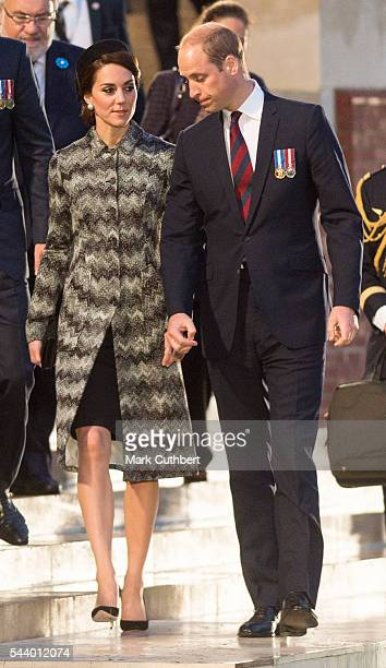 Prince William Duke of Cambridge and Catherine Duchess of Cambridge attend a Vigil at The Commonwealth War Graves Commission Thiepval Memorial for...