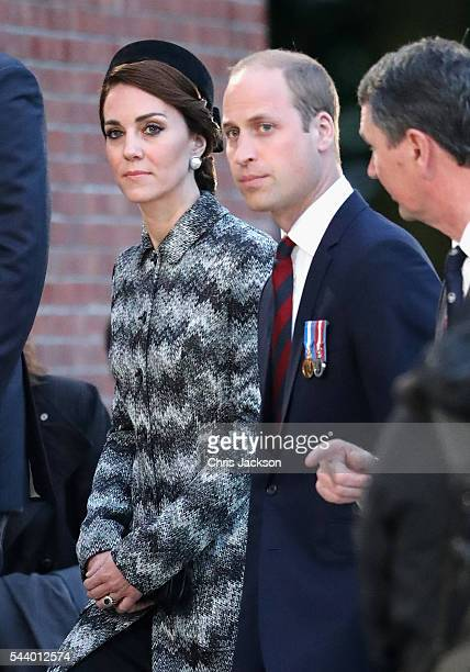 Prince William, Duke of Cambridge and Catherine, Duchess of Cambridge take part in a vigil at Thiepval Memorial to the Missing of the Somme during...