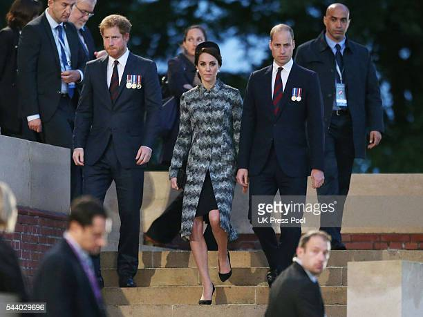 Prince William Duke of Cambridge and Catherine Duchess of Cambridge with Prince Harry attend a Vigil at The Commonwealth War Graves Commission...