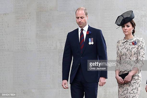 Prince William, Duke of Cambridge and Catherine, Duchess of Cambridge walk past names on the Thiepval Memorial during Somme Centenary Commemorations...