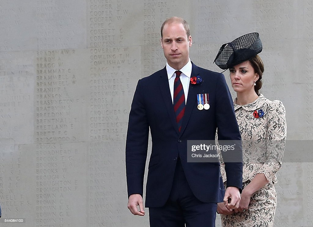 Prince William, Duke of Cambridge and Catherine, Duchess of Cambridge walk past names of the missing on Thiepval Memorial during Somme Centenary Commemorations on July 1, 2016 in Thiepval, France. Today marks exactly 100 years since the beginning of the battle of the Somme.