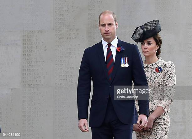 Prince William, Duke of Cambridge and Catherine, Duchess of Cambridge walk past names of the missing on Thiepval Memorial during Somme Centenary...