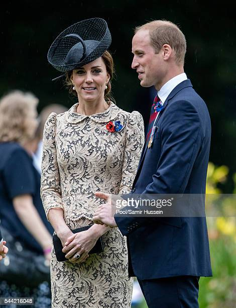 Prince William, Duke of Cambridge and Catherine, Duchess of Cambridge attend the commemoration of the Battle of the Somme at the Commonwealth War...