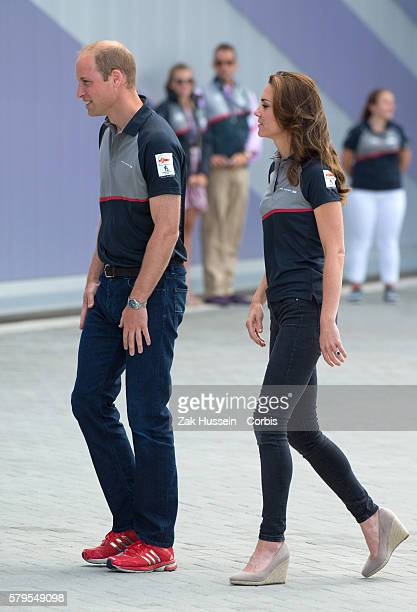 Prince William Duke of Cambridge and Catherine Duchess of Cambridge visit the Land Rover BAR at The America's Cup World Series on July 24 2016 in...