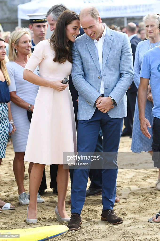 Prince William, Duke of Cambridge and Catherine, Duchess of Cambridge visit Towan Beach during a visit to Cornwall on September 1, 2016 in Cornwall, United Kingdom.