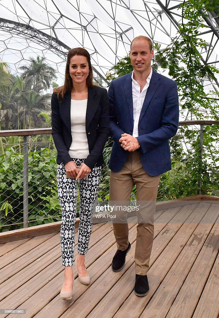 Prince William, Duke of Cambridge and Catherine, Duchess of Cambridge visit the Eden Project in Cornwall on September 2, 2016 near St Austell, England.