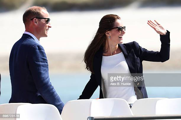 Prince William Duke of Cambridge and Catherine Duchess of Cambridge leave Tresco on 'Pegasus' during a visit to Cornwall on September 2 2016 in Truro...
