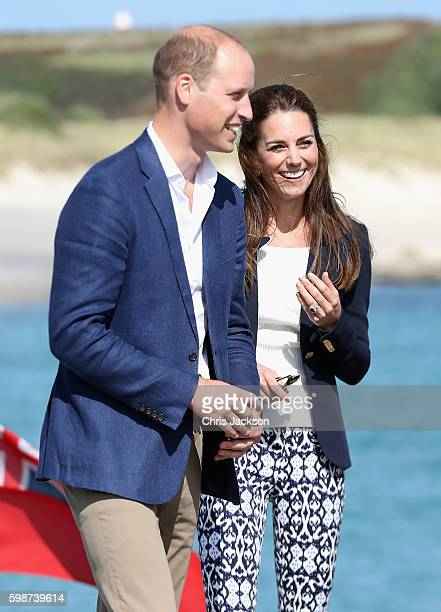 Prince William Duke of Cambridge and Catherine Duchess of Cambridge visit the Island of St Martin's in the Scilly Isles on September 2 2016 in St...