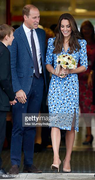 Prince William Duke of Cambridge and Catherine Duchess of Cambridge leave Stewards Academy on September 16 2016 in Harlow England The Duke and...