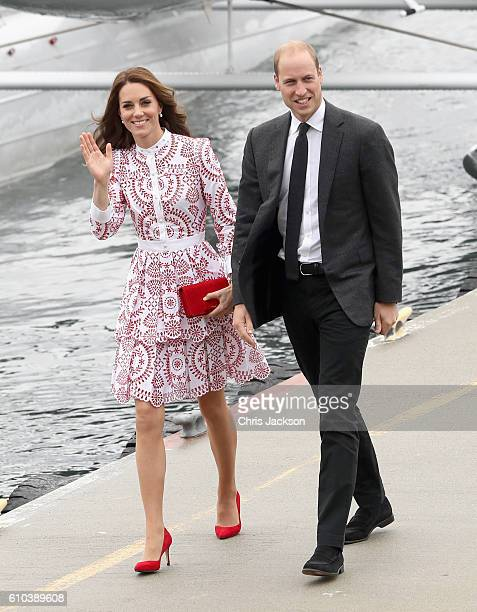 Prince William Duke of Cambridge and Catherine Duchess of Cambridge after they arrive by sea plane at the Vancouver Harbour Flight Centre during...