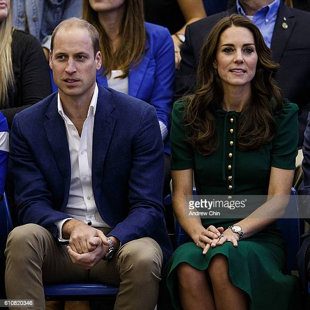 Prince William Duke of Cambridge and Catherine Duchess of Cambridge watch a volleyball match at University of British Columbia Okanagan on September...