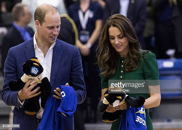 Prince William Duke of Cambridge and Catherine Duchess of Cambridge attend a volleyball match at University of British Columbia Okanagan on September...