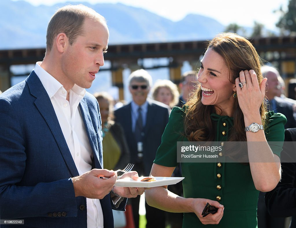 Prince William, Duke of Cambridge and Catherine, Duchess of Cambridge sample Indian food cooked by Vikram Vij at visit Mission Hill Winery on September 27, 2016 in Kelowna, Canada.