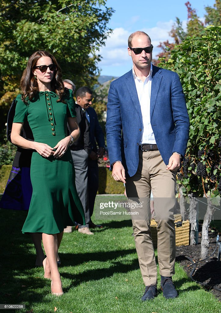 Prince William, Duke of Cambridge and Catherine, Duchess of Cambridge sample Indian food cooked by Vikram Vij during a visit to Mission Hill Winery on September 27, 2016 in Kelowna, Canada.