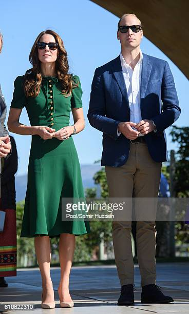 Prince William Duke of Cambridge and Catherine Duchess of Cambridge sample Indian food cooked by Vikram Vij during a visit to Mission Hill Winery on...