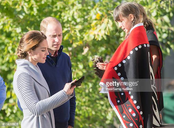 Prince William Duke of Cambridge and Catherine Duchess of Cambridge meet a peformer after watching a cultural welcome on September 28 2016 in...