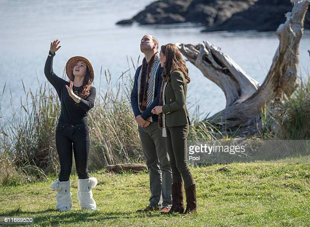 Prince William Duke of Cambridge and Catherine Duchess of Cambridge visit the island of Haida Gwaii during the Royal Tour of Canada on September 30...