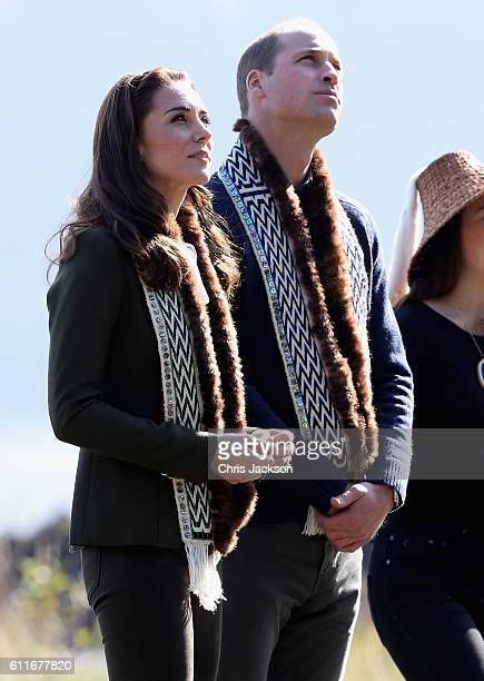 Prince William Duke of Cambridge and Catherine Duchess of Cambridge visit the Haida Heritage Centre during the Royal Tour of Canada on September 30...
