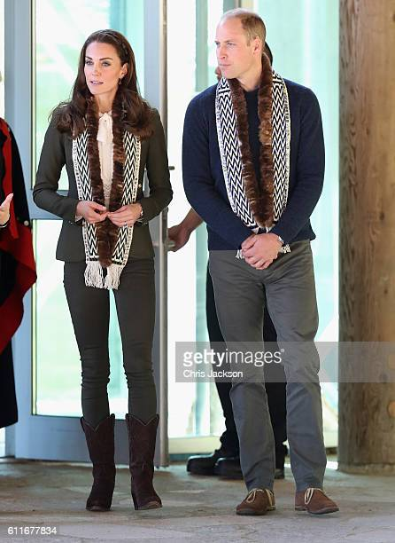 Prince William Duke of Cambridge and Catherine Duchess of Cambridge was as they visit the Haida Heritage Centre during the Royal Tour of Canada on...