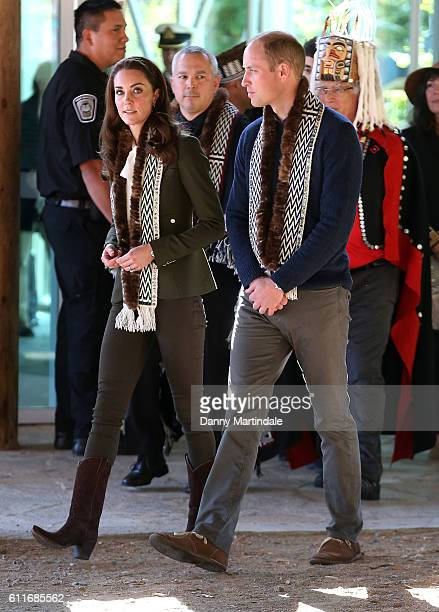 Prince William Duke of Cambridge and Catherine Duchess of Cambridge was as tey visit the Haida Heritage Centre during the Royal Tour of Canada on...