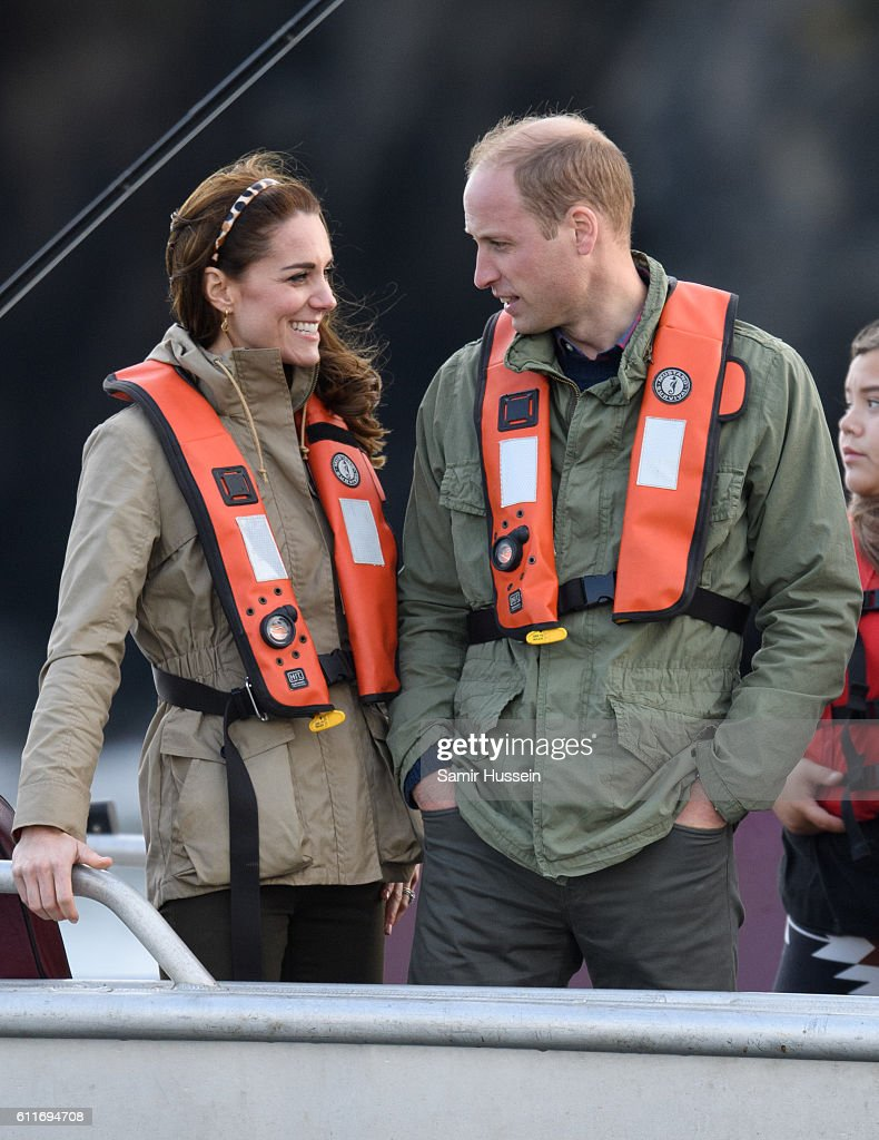 Prince William, Duke of Cambridge and Catherine, Duchess of Cambridge take part on a fishing boat trip on September 30, 2016 in Haida Gwaii, Canada.