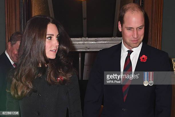 Prince William Duke of Cambridge and Catherine Duchess of Cambridge attend the annual Royal Festival of Remembrance at the Royal Albert Hall on...
