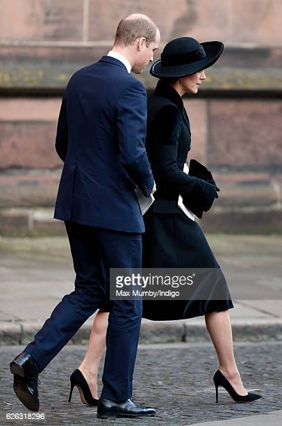 Prince William Duke of Cambridge and Catherine Duchess of Cambridge attend a Memorial Service for Gerald Grosvenor 6th Duke of Westminster at Chester...