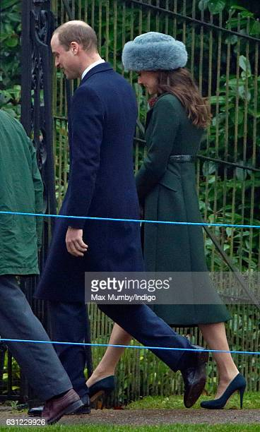 Prince William Duke of Cambridge and Catherine Duchess of Cambridge attend the Sunday service at St Mary Magdalene Church Sandringham on January 8...