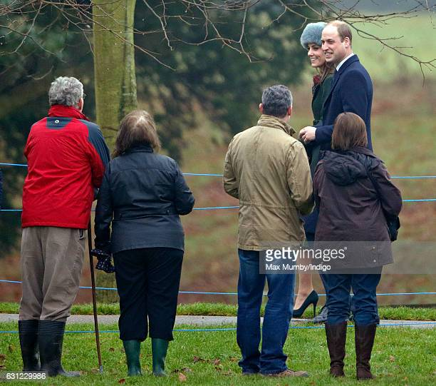 Prince William, Duke of Cambridge and Catherine, Duchess of Cambridge attend the Sunday service at St Mary Magdalene Church, Sandringham on January...