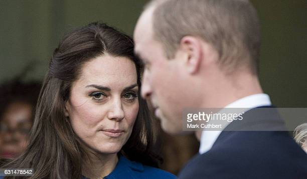 Prince William, Duke of Cambridge and Catherine, Duchess of Cambridge leave after a visit to the CBUK Stratford on January 11, 2017 in London,...