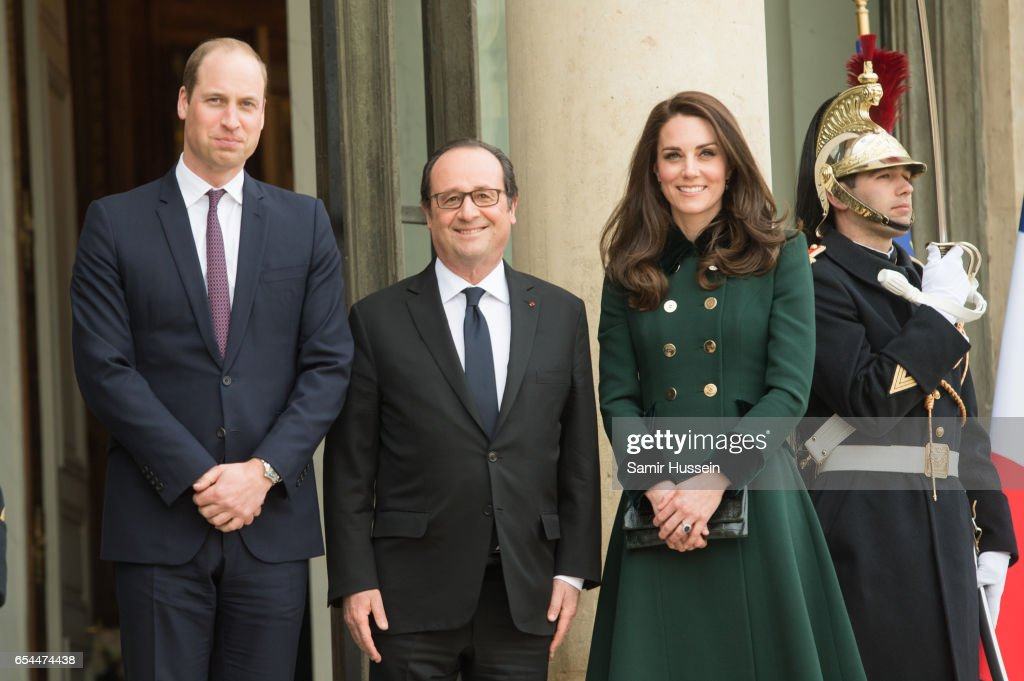 Prince William, Duke of Cambridge and Catherine, Duchess of Cambridge meet with President Francois Hollande at The Elysee Palace on March 17, 2017 in Paris, France. The Duke and Duchess are on a two day tour of France.