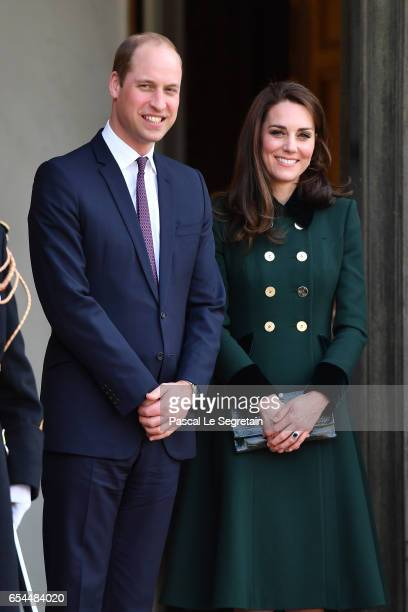 Prince William, Duke of Cambridge and Catherine, Duchess of Cambridge leave after a meeting with French President Francois Hollande at the Elysee...