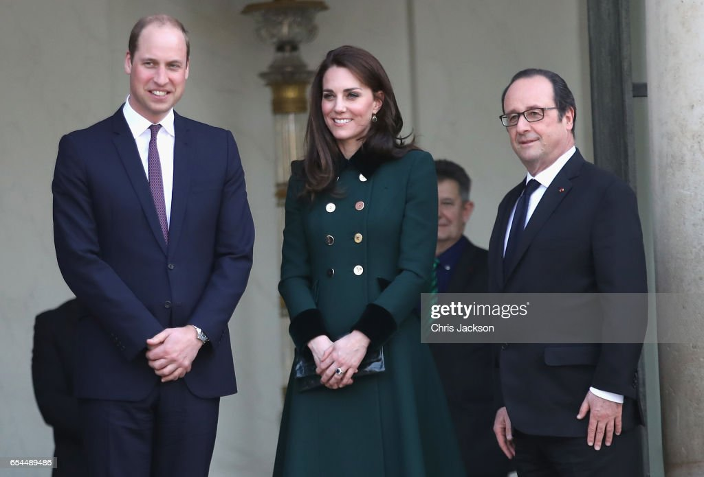 Prince William, Duke of Cambridge and Catherine, Duchess of Cambridge depart from Elysee Palace after meeting French President Francois Hollande during an official two-day visit to Paris on March 17, 2017 in Paris, France.