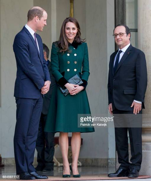 Prince William Duke of Cambridge and Catherine Duchess of Cambridge visit French President Francois Hollande at the Elysee Palace on March 17 2017 in...