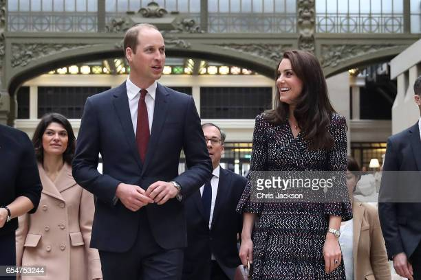 Prince William Duke of Cambridge and Catherine Duchess of Cambridge take a tour at Musee d'Orsay during an official twoday visit to Paris on March 18...