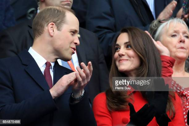 Prince William, Duke of Cambridge and Catherine, Duchess of Cambridge attend the RBS Six Nations match between France and Wales at Stade de France on...