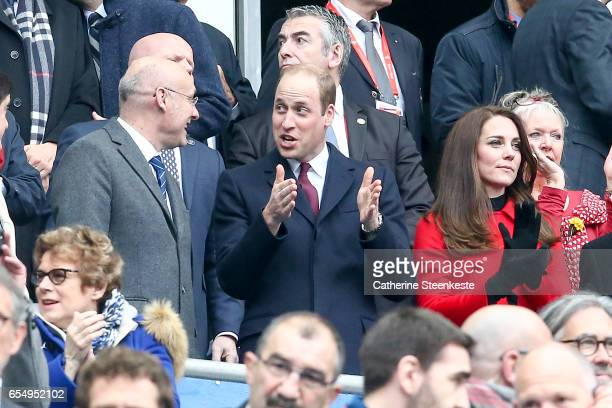 Prince William Duke of Cambridge and Catherine Duchess of Cambridge with Bernard Laporte President of the French Rugby Federation during the RBS Six...