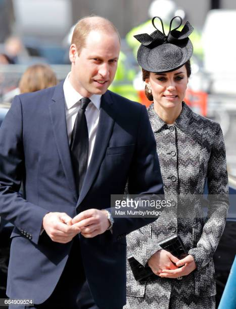 Prince William Duke of Cambridge and Catherine Duchess of Cambridge attend a Service of Hope at Westminster Abbey on April 5 2017 in London England...