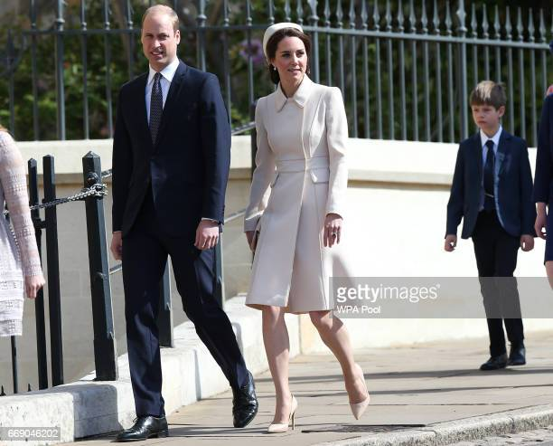 Prince William Duke of Cambridge and Catherine Duchess of Cambridge attend the Easter Day service at St George's Chapel on April 16 2017 in Windsor...