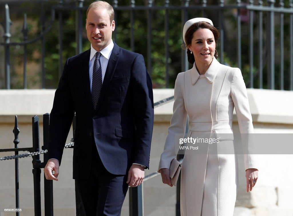 Prince William, Duke of Cambridge and Catherine, Duchess of Cambridge leave the Easter Day service at St George's Chapel on April 16, 2017 in Windsor, England.
